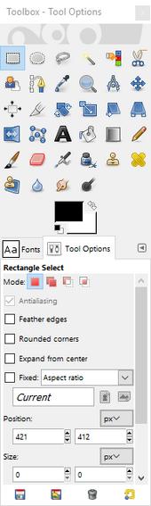 GIMP - toolbox window