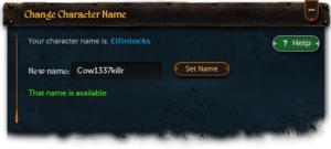Character names interface