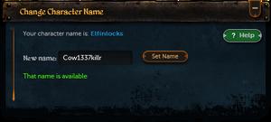 Character names interface
