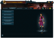 Customisations (Animations) interface