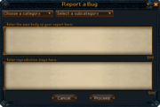 Report a Bug interface