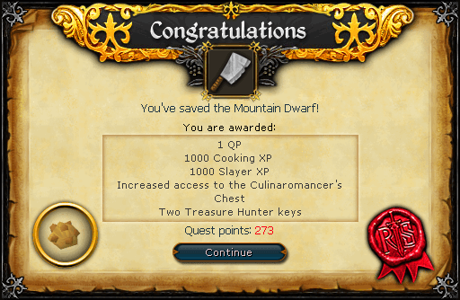 Recipe for Disaster (Freeing the Mountain dwarf) reward