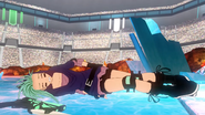 Reese falling on her bottom