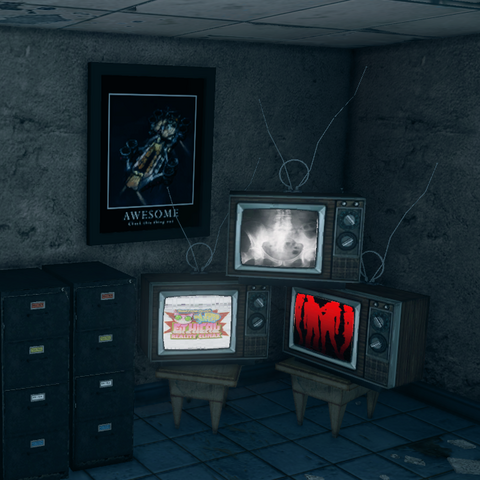 File:Kinzie's Warehouse interior - bedroom tvs and motivational poster.png
