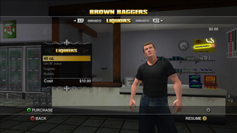 Brown Baggers Liquors menu in Saints Row