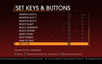 Saints Row Gat out of Hell - Main Menu - Options - Controls - Set Keys & Buttons - General II