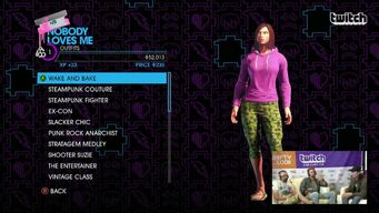 Nobody Loves Me - Outfits menu in Saints Row IV