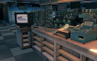 Steelport News interior behind counter in Saints Row The Third