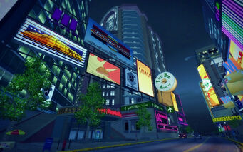 Brighton in Saints Row 2 - billboards at night