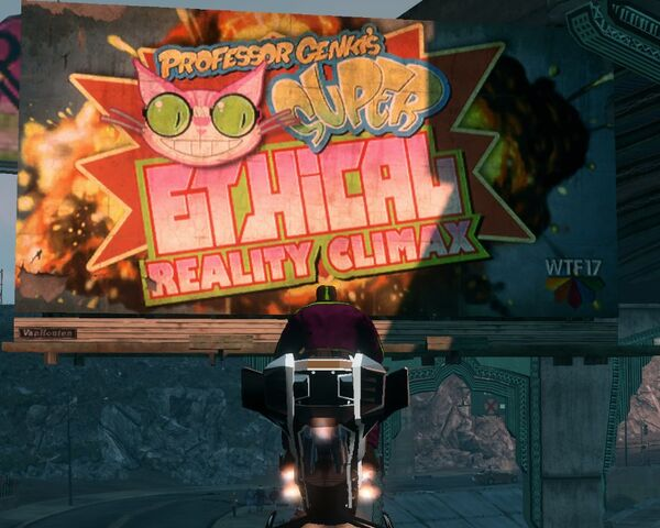 File:Professor Genki's Super Ethical Reality Climax billboard with WTF17 logo.jpg