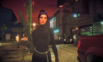 Viola in Saints Row IV with a SWAT SMG