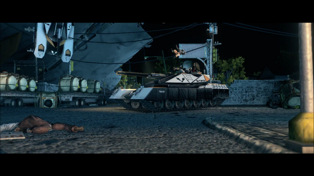 File:Air Steelport closing cutscene - crashed plane behind falling tank.png