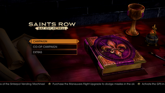 Gat out of Hell main menu - Purchase the Maneuvers Flight Upgrade to dodge missiles in the air