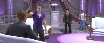 Dane Vogel being threatened by Johnny Gat in the Ultor Makes a House Call cutscene