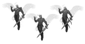 Johnny Gat Concept Art - Gat out of Hell Demonic look - three versions flying