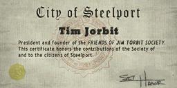 Credits - Mayor Certificate - Tim Jorbit