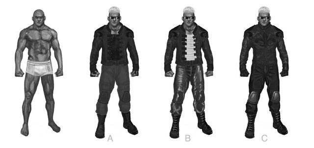 File:Johnny Gat Concept Art - Super Homie - four outfits.jpg