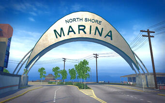 Centennial Beach in Saints Row 2 - North Shore Marina sign