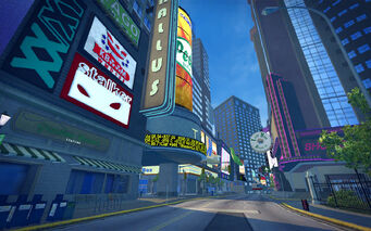 Brighton in Saints Row 2 - billboards during the day