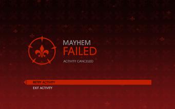 Gat out of Hell - Mayhem fail screen