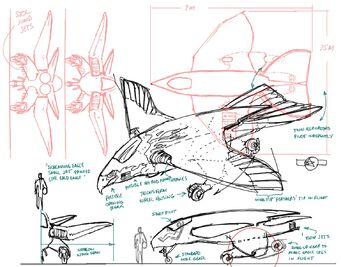Screaming Eagle - Concept Art sketch of size reference