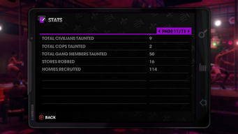 Stats page 11 of 11 in Saints Row The Third