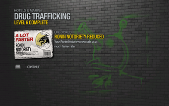 Ronin Notoriety Reduced by 15% unlocked by Drug Trafficking level 6 in Saints Row 2