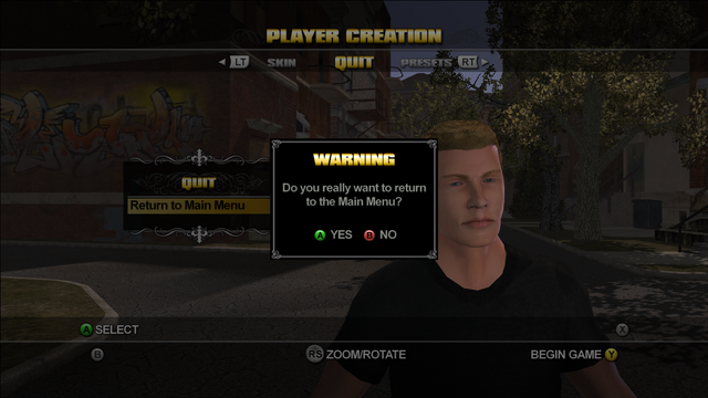 File:Return to Main Menu option during Player Creation in Saints Row.png