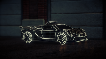 Wireframe Peacemaker at night in Saints Row IV