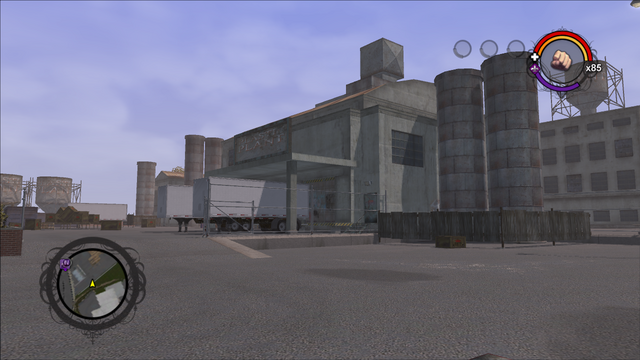 File:Drug Factory front exterior from the south in Saints Row.png