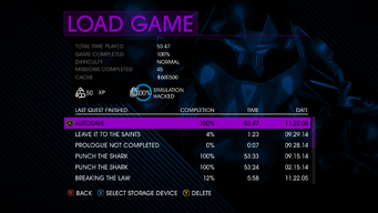 Load Game screen in Saints Row IV