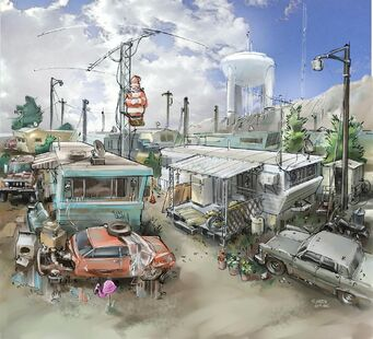 Trailer Park District Concept Art - trailers and water tower
