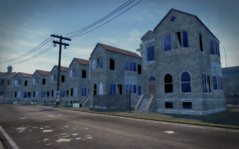 Shivington - row of project houses in disrepair
