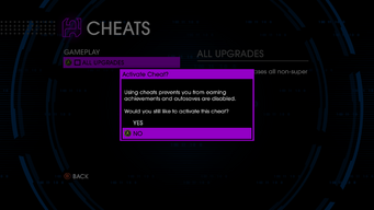 Activate Cheat popup in Saints Row IV