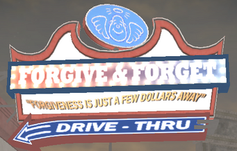 Forgive and Forget exterior sign in Saints Row 2 with angel visible