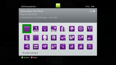 Achievements menu in Saints Row The Third