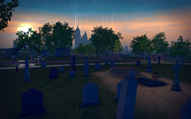 File:Mourning Woods Cemetery - graves at dusk.jpg