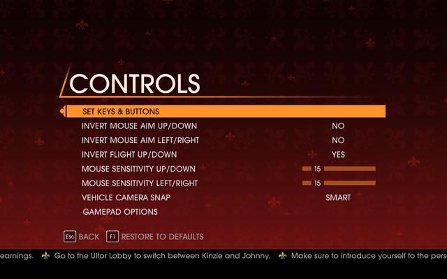 File:Saints Row Gat out of Hell - Main Menu - Options - Controls menu.png