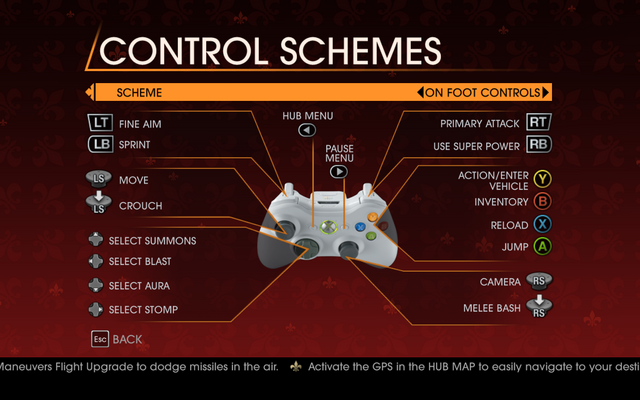 File:Saints Row Gat out of Hell - Main Menu - Options - Controls - Gamepad - Control Schemes - On Foot Controls.png