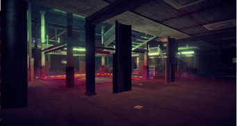 On Track interior in Saints Row IV - lower level wide view