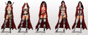 Bloody Canoness concept art - 5 outfits