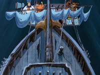 Ghost ship crashes into the gang's dinghy