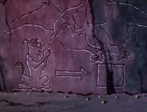 Cave drawing of Pterodactyl Ghost trapping Scoob