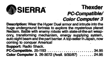 RSC-19 1988 Catalog Excerpt-Thexder
