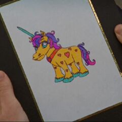 J.D.'s diary has a drawing of a unicorn on the cover. <span style=