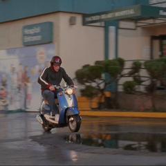 J.D. rides Sasha to work...