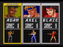 Streets of Rage Genesis Character select
