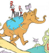The Chat in the Hat and Young Cat riding on a brown Elephant