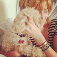 Bella-thorne-Hugging-her-dog-kingston