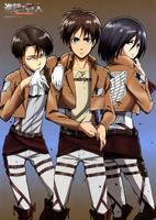 SnK - Eren, Levi, and Mikasa
